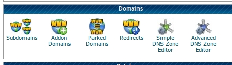 cPanel section, addon domain